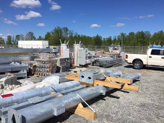 Materials are staged for a new Duke Energy substation in Edneyville.