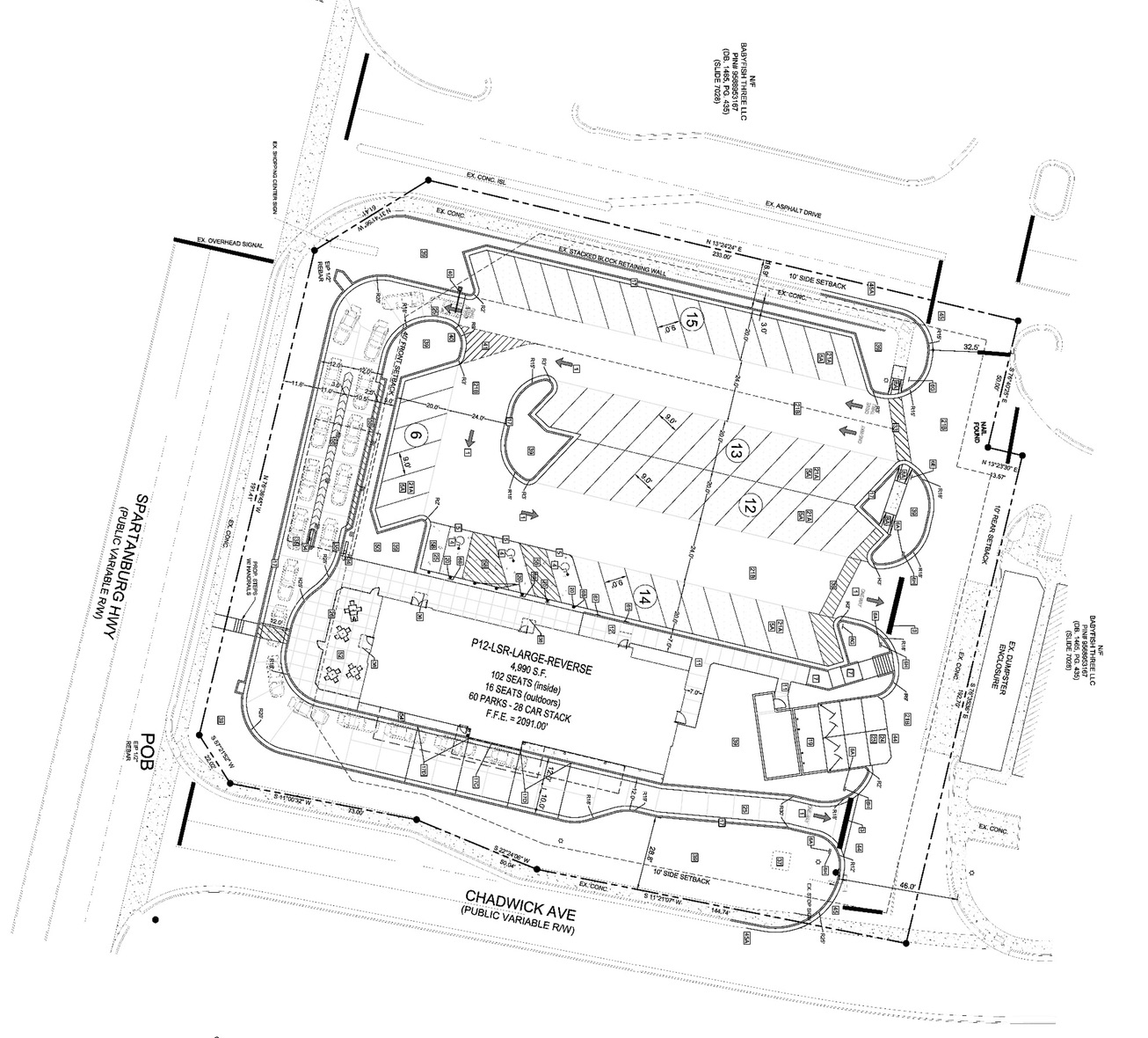Site plan shows footprint of a new Chick-Fil-A at Chadwick Corners shopping center.