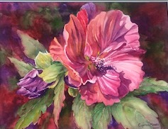 Cynthia Moser 's watercolor is on display at Carolina Village.