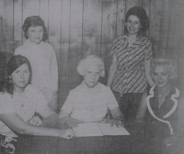 Shown are 1977 board members, seated from left, Elizabeth Clark, Lucy Miller (president), Phyllis Capps; standing, Ruth Semashko and Marilyn Miller.