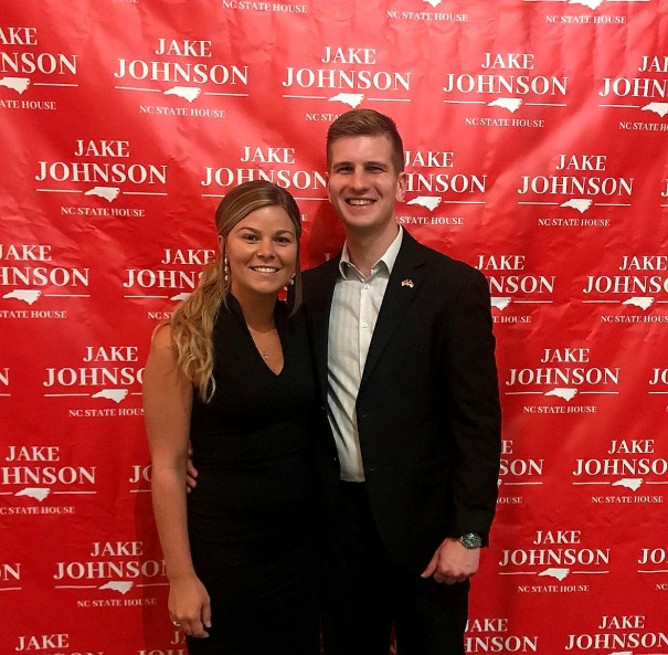 Jake Johnson and Liz Driver at a fundraiser at Champion Hills.