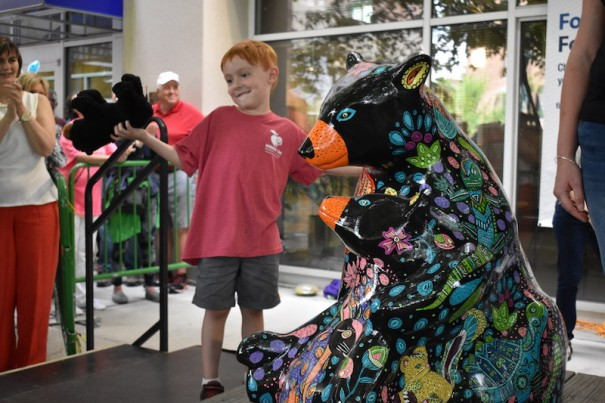 The 2019 Bearfootin' Bear Artwalk Reveal drew a crowd at the First Citizens Bank plaza. This year's reveal will be a virtual event.