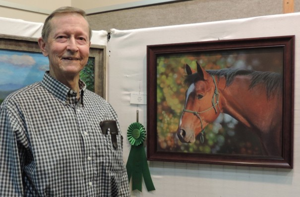 "Alec Hall's pastel horse ""Jesse"" was voted Viewers' Choice at the Art League's Fall Member Show."