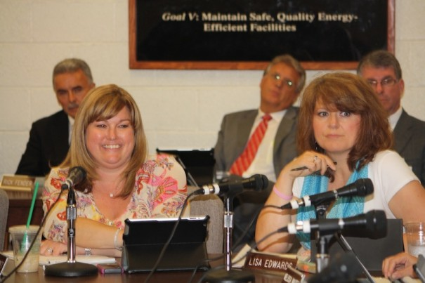 School Board member Amy Lynn Holt, left, and board member Lisa Edwards.