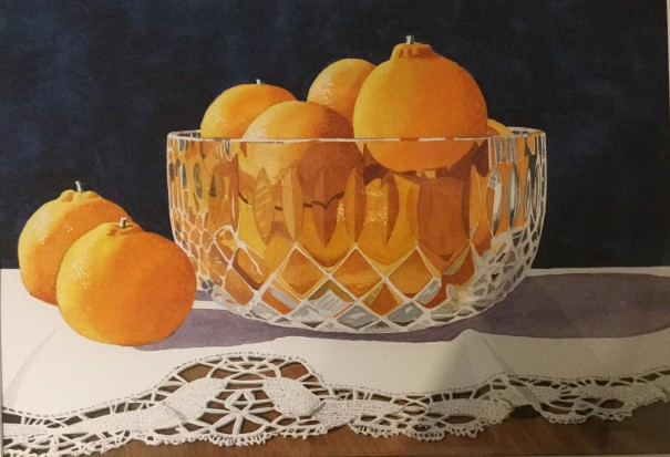 Watercolor still life by John Anderson will be on exhibit.