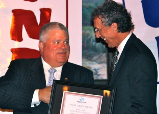 State Sen. Tom Apodaca receives a Boys and Girls Club Award from Jeff Miller in this file photo.