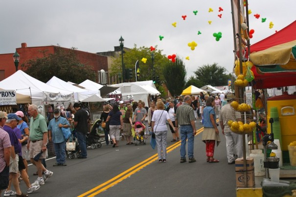 People enjoy the North Carolina Apple Festival on opening day this year.