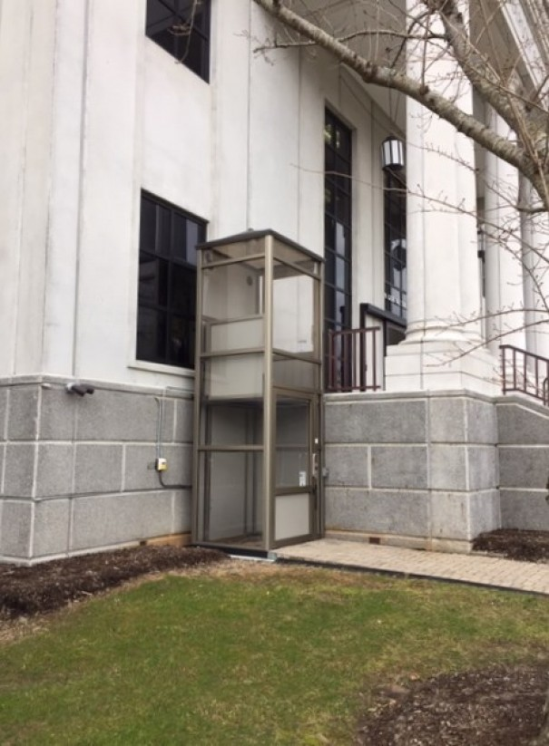 Although it installed an exterior elevator at a cost of $35,000, the county dropped plans to move the entrance to the Grove Street Courthouse to the front door.