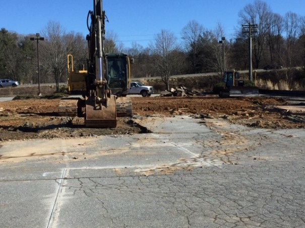 A contactor demolished the old Moose Cafe building and cleared the site for a Chipotle Mexican Grill and Aspen Dental office.