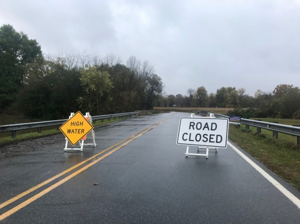 A roadblock warned motorists of high water on Airport Road at BRCC.