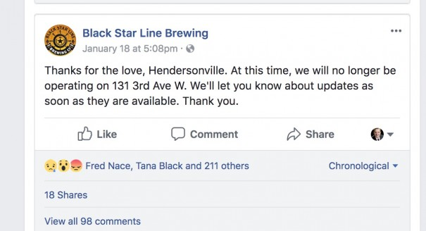 Brewery posted a farewell to customers on Jan. 18 after the business apruptly closed.