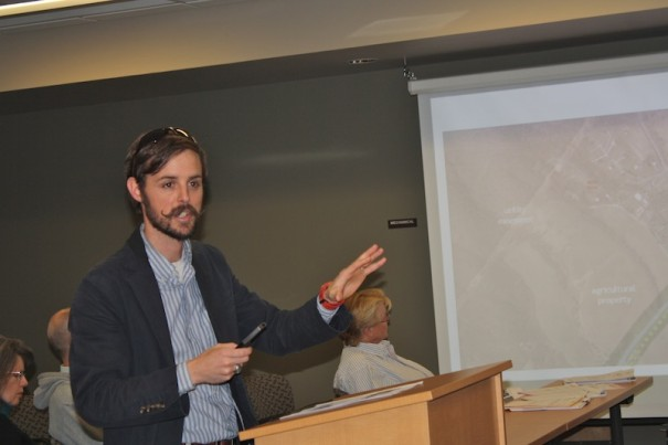 Planning consultant Blake Sanders describes the N.C. 280 greenway study at a meeting of the Mills River Town Council.