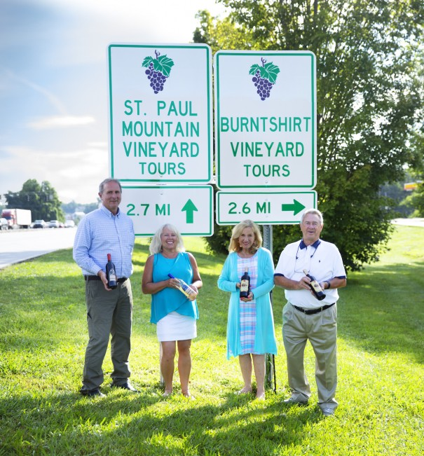 Alan Ward and Barbara Walker of St. Paul Mountain Mountain Vineyards and Sandra and Lemuel Oates of Burntshirt Vineyard celebrate the AVA designation of Crest of the Blue Ridge region.