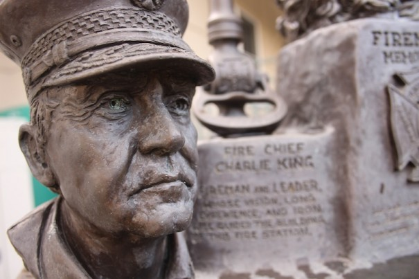 One of Spratt's creations, a memorial at Fire Station No. 1 to fallen firefighters, features a likeness of Charlie King.