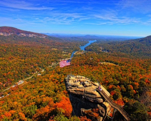 Fall colors at Chimney Rock State Park. [Photo by Chuck Hill]