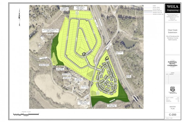 The site plan for the 332-home Clear Creek Road project shows townhomes in 29 buildings on the east side of the road and the single-family subdivision on the west side. [WGLA ENGINEERING MASTER PLAN]