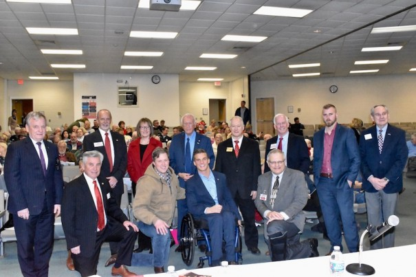 Candidates for the Republican nomination in the 11th Congressional District pose before a forum on Jan. 25 at AB Tech in Asheville.