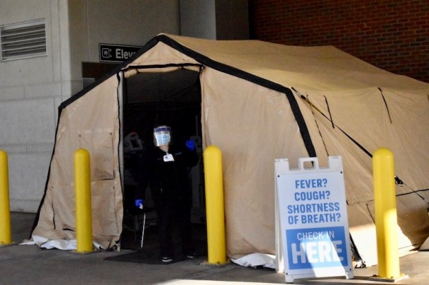 Pardee set up a tent to screen patients before they enter the emergency room.