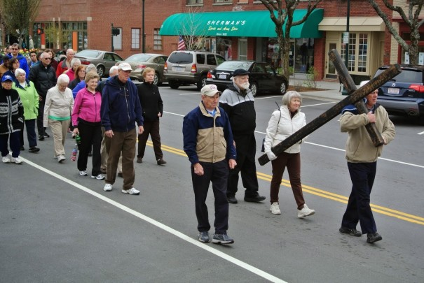 First United Methodist Church will lead its traditional one-mile community walk with the cross through downtown on Good Friday.