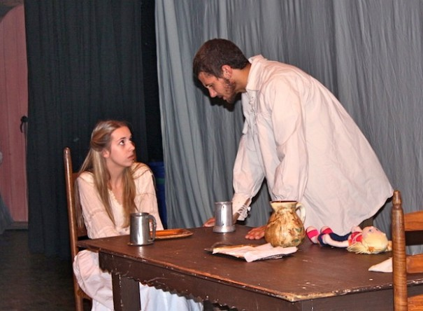 Lindsay Patton as Elizabeth Proctor and Christian Carmean as John Proctor rehearse a scene from 'The Crucible.'