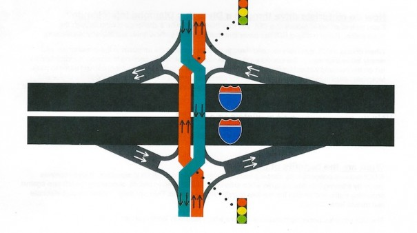 Drawing shows how traffic would move freely through interchange while opposing traffic stops.