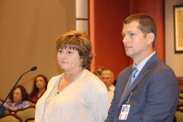 Henderson County Tax Assessor Darlene Burgess and Assistant Tax Assessor Kevin Hensley answer questions from county commissioners last September.