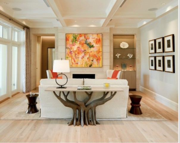 Ann Ferguson's design for a Florida vacation home overlooking the Intracoastal Waterway. The project includes a custom table design was inspired by a banyan tree outside the home.