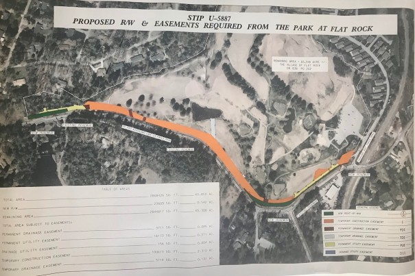 Map shows right of way, construction easements, drainage easement and utility easements associated with the Highland Lake Road project.