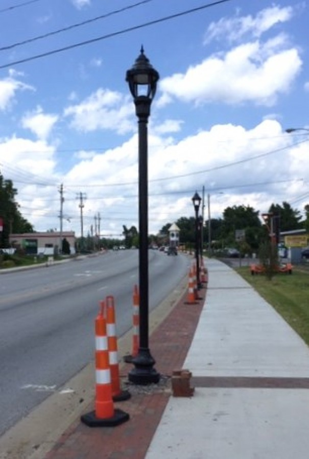 Pedestrian level street lights are one of the amenities Fletcher has added to create a Main Street feeling on U.S. 25.