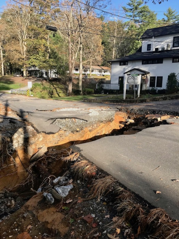 Heavy rain from Tropical Storm Zeta caused a washout of West Blue Ridge Road, closing the road in both directions near the Millhouse Lodge..