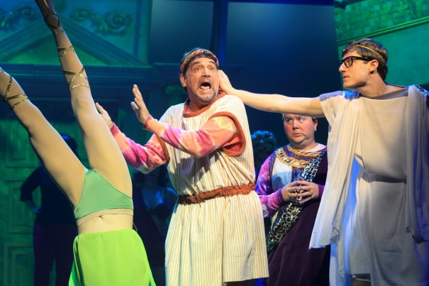 The supple legs of Mary Claire King (Gymnasia), Nick Santa Maria (Pseudolus), Scott Cote (Lycus) and Sam Sherwood (Hero) star in 'A Funny Thing Happened on the Way to the Forum' at the Flat Rock Playhouse.
