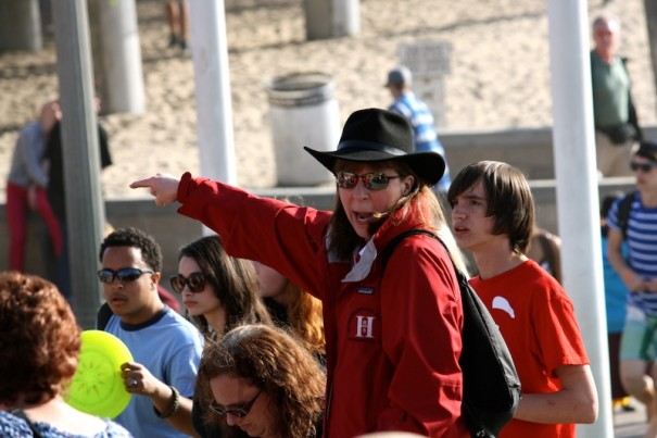 Fran Shelton directs HHS band members during San Diego trip in 2012.