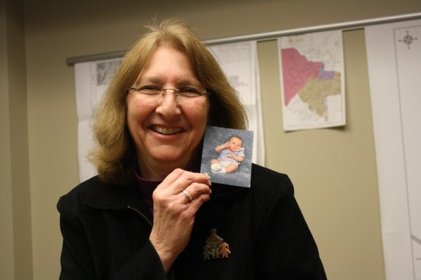 Gayle Snyder shows a baby picture of her son, Taylor.
