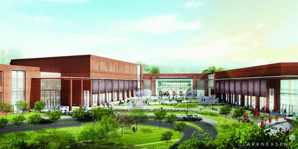 Rendering shows a new HHS with a courtyard and a new auditorium.