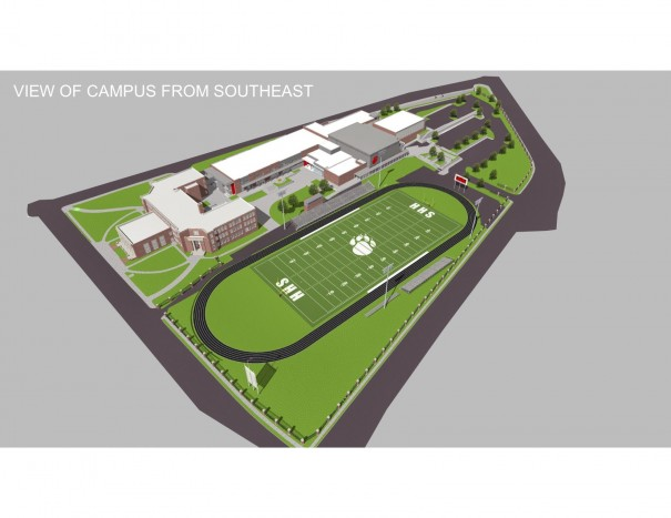 A plan by PFA/LS3P architects would preserve the Stillwell building (upper left) and the 1974 gym (gray with Bearcat paw) and add a new classroom building (center left), band and chorus room, auxiliary gym and cafeteria. [PFA/LS3P Architects]