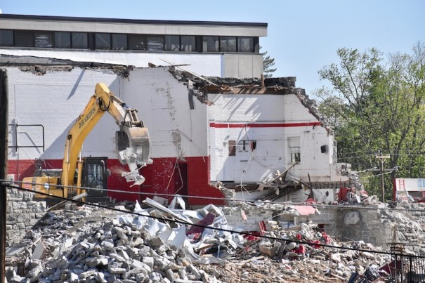 Contractor D.H. Griffin was able to move ahead on demolishing the old gym at HHS.