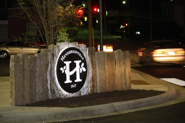 Hendersonville's gateway sign at the southwest corner of North Main Street and Seventh Avenue was lighted for the first time Thursday, Aug. 29.