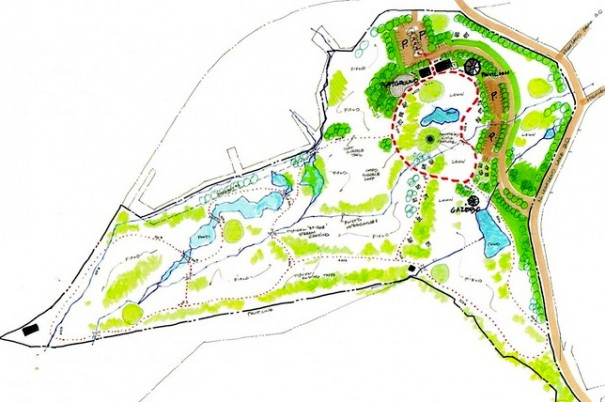 Sketch shows possible development of the Highland Lake golf course.