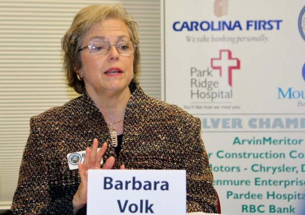 Mayor Barbara Volk makes a point during a campaign forum.