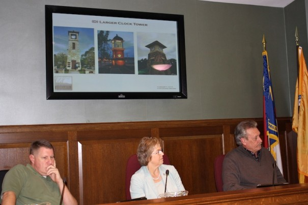 Councilman Jeff Collis, Mayor Barbara Volk and Councilman Steve Caraker listen to clock tower ideas.