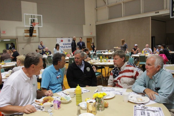 U.S. Rep. Mark Meadows, center, visits with Mark Williams, Jeff Miller, Jim Miller and Bill Lapsley at the Kiwanis Pancake Breakfast.