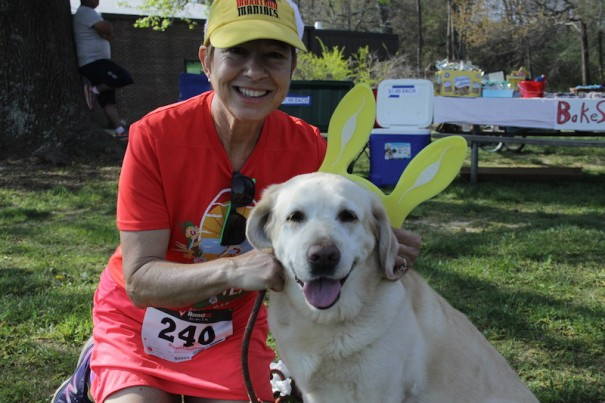 Sunny, named 'Sunny Bunny' for the day, with Monica Kimbler.