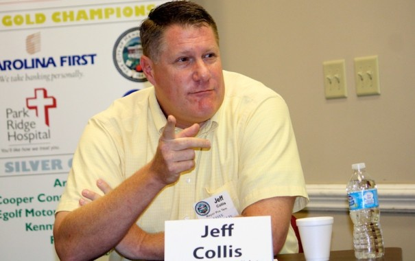 Jeff Collis speaks during a campaign forum.