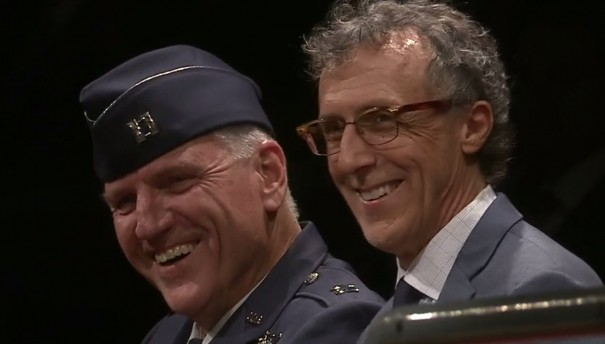 Earl Morse and Jeff Miller laugh as Gen. Mark A. Milley jokes that Morse had served in the U.S. Army Corps, the forerunner of the U.S. Air Force.