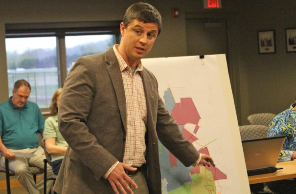 Mills River Town Manager Jeff Wells points to an area of the town that might be suitable for higher density housing.
