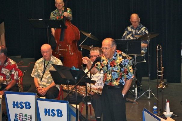Jerry Zink, a trombone player and entertaining band leader, will lead the Hendersonville Swing Band.