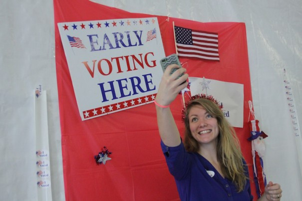 Jessica Allison, 25, of Hendersonville, makes a selfie after voting at the Board of Elections on Tuesday.