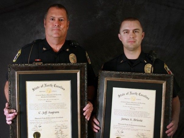 Jeff Augram, who retired last week as chief of public safety, and Lt. Jimmy Brissie received Advanced Law Enforcement certificates.