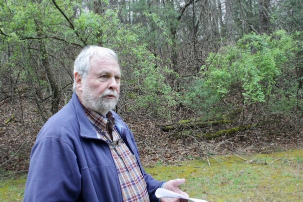 John McHugh talks about his opposition to proposed shooting range on land bordering his property on Macedonia Road.