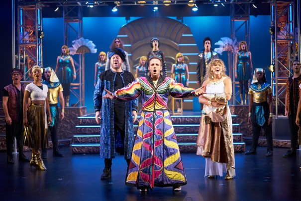 Preston Dyar, Lance Bordelon and Jessica Crouch star in 'Joseph and the Amazing Technicolor Dreamcoat' at the Flat Rock Playhouse.